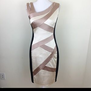 Jax Crisscross Bodycon Cream Black Dress